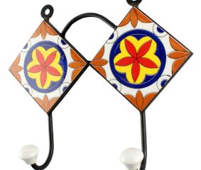 Orange Flower Ceramic Tile Hook