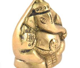 Cute Brass Sitting Ganesha Figurine