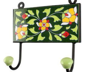 Forest Green Ceramic Floral Tile Hook