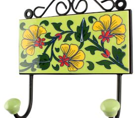 Pea Green Leaf Flower Ceramic Tile Hook