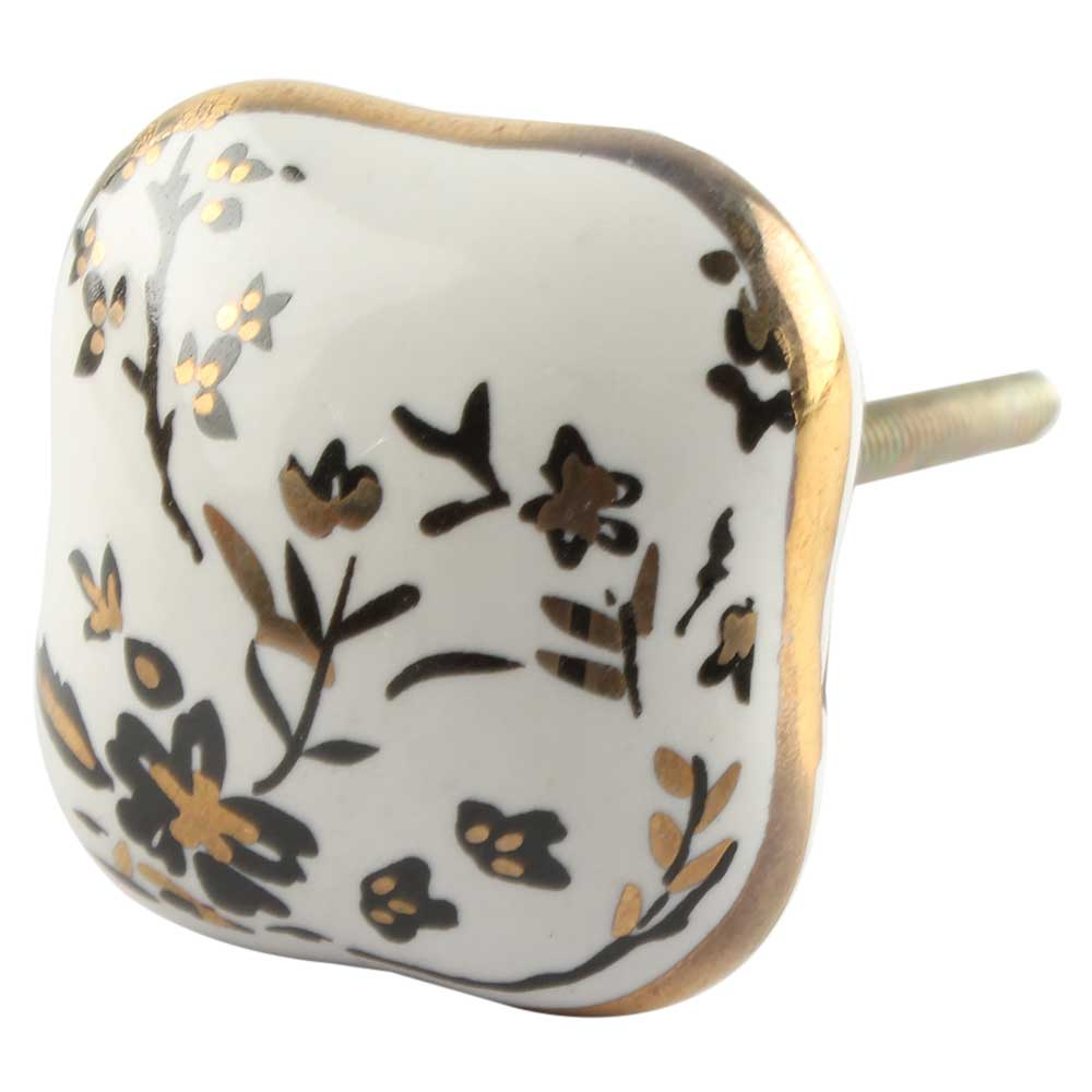 Golden Leaf Flower Square Ceramic Cabinet Knob