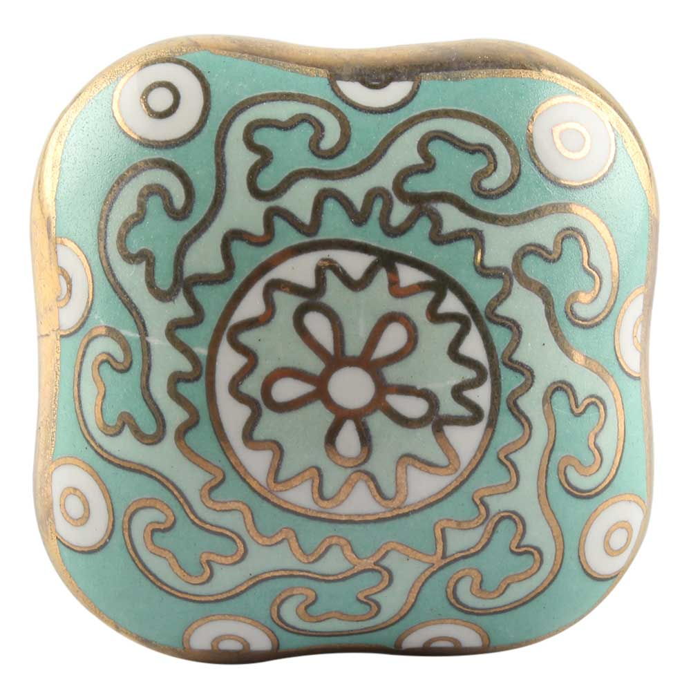 Square Ceramic Cabinet Knob in Sage Green