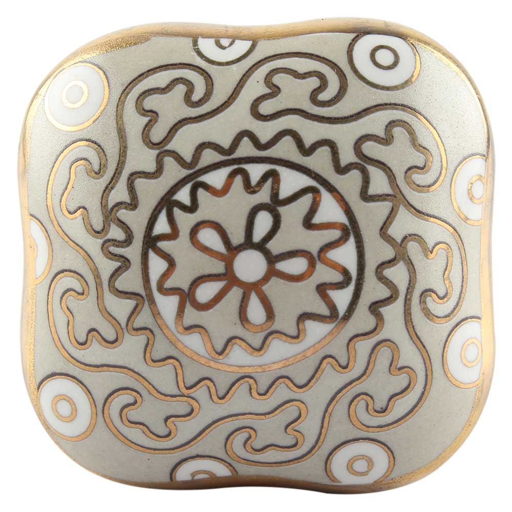 Light Grey Square Ceramic Knob