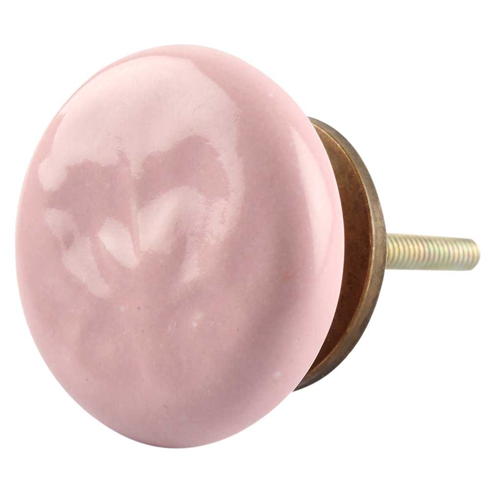 Ceramic Flat Cabinet Knob in Pink Flower