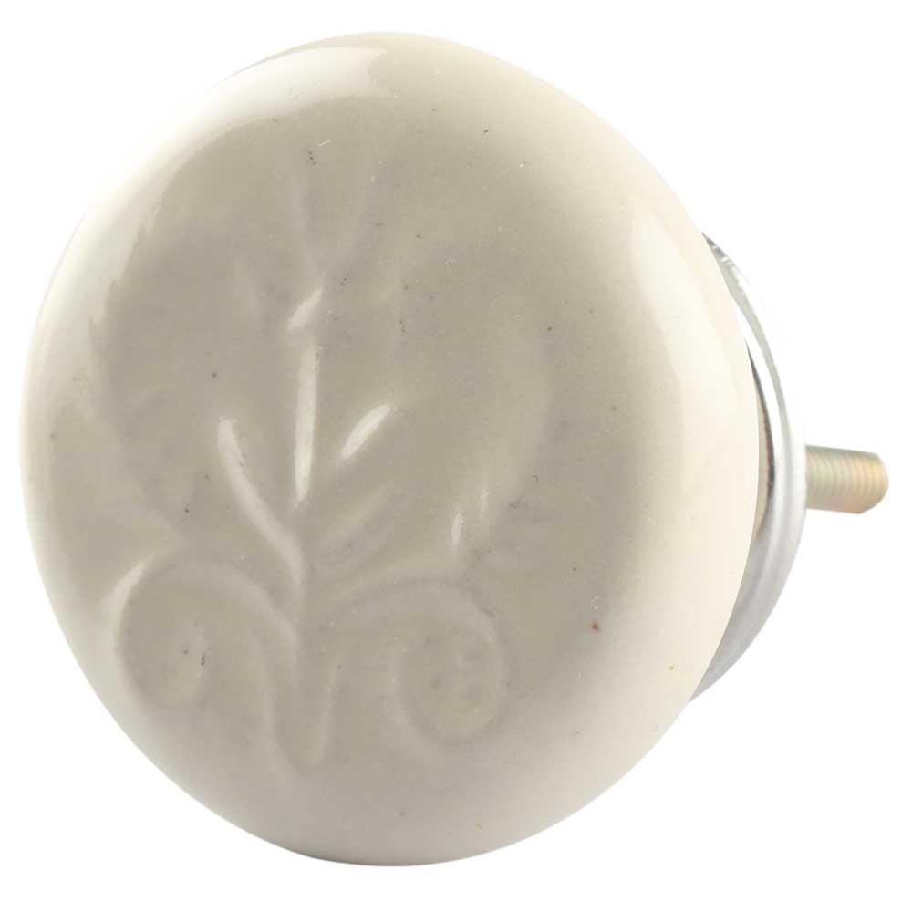 Ceramic Flat Wardrobe Knob in Cream Flower