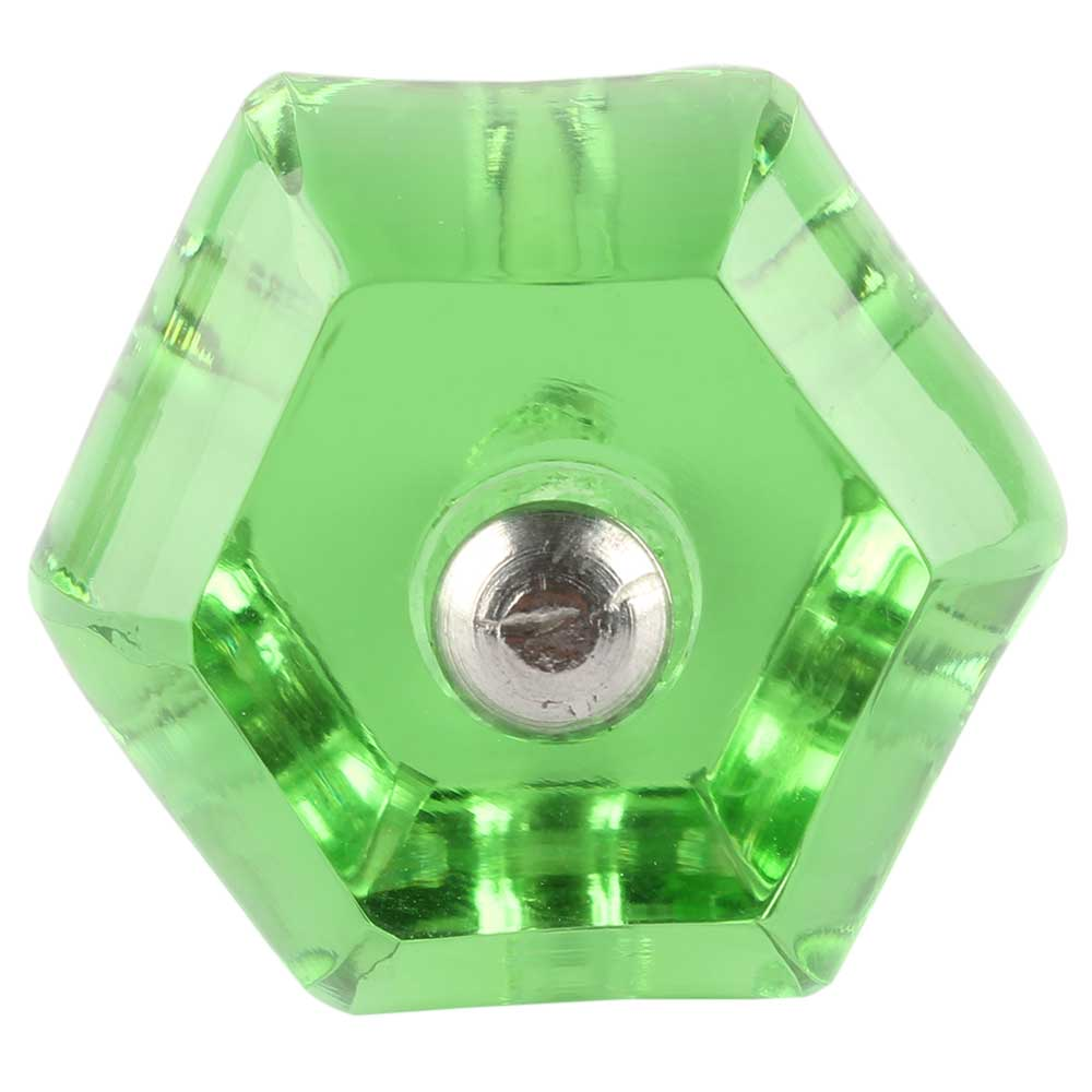 Hexagon Glass Cut Drawer Knob in Green
