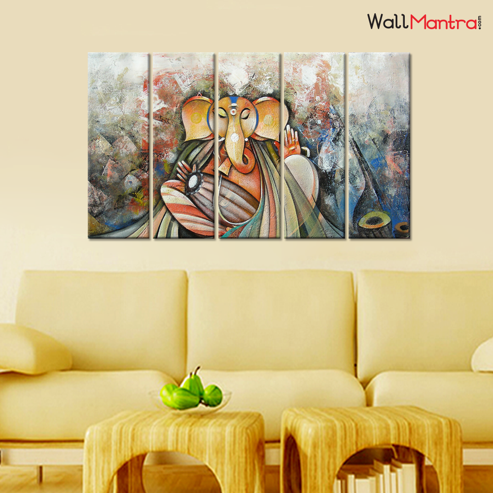Ganesha Wall Painting Premium Quality Canvas Wall Hanging