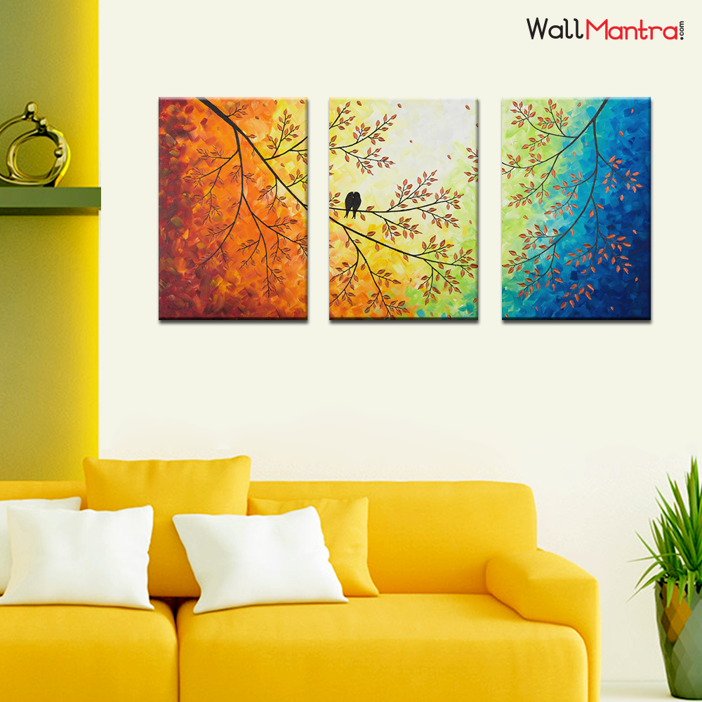 Colorful Painting Love Bird on a Branch Premium Quality Canvas Wall Hanging