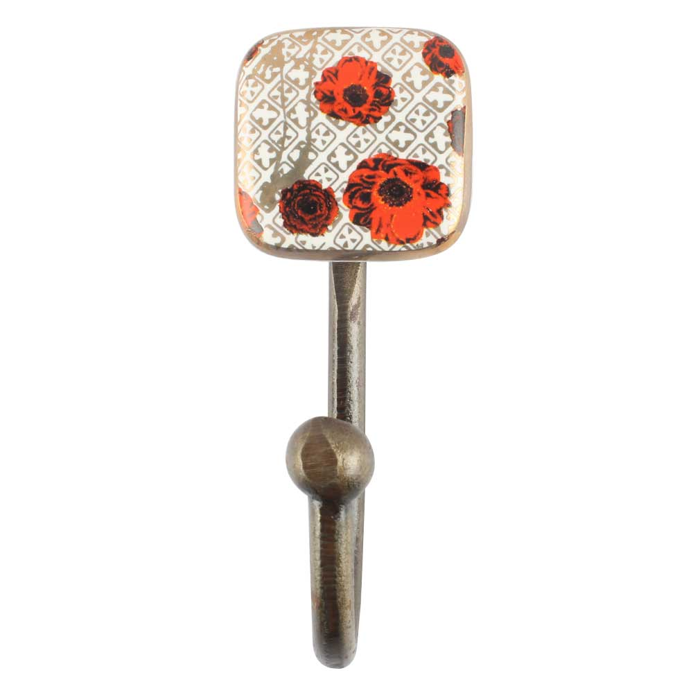 Red Flower Square Ceramic Iron Wall Hook