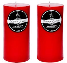 Set Of 2 Amour Rose Solid Pillar Candle(3X6 Inches)