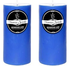 Set Of 2 Mountain Lake Solid Pillar Candle(3X6 Inches)