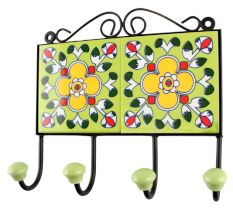 Pea Green Ceramic Floral Tile Wall Hook Online