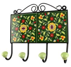 Forest Green Ceramic Floral Tile Wall Hook