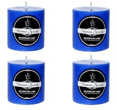 Set Of 4 Mountain Lake Solid Pillar Candle