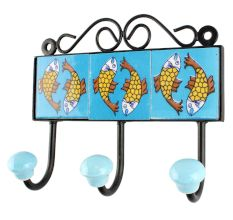 Turquoise Base Ceramic Floral Tile Hook in Yellow Fish
