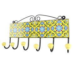 Turquoise Sunflower Ceramic Tile Hook With Yellow Base
