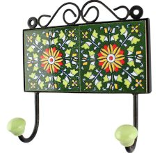 Forest Green wheel flower Ceramic Tile wall Hook