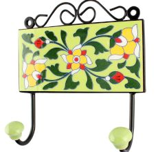 Forest Green Leaf Flower Ceramic Tile Hook