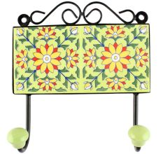 Pea Green Sunflower Ceramic Tile Wall Hook