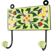 Ceramic Floral Tile Hook in Forest Green Leaf