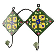 Forest Green Floral Ceramic Tile Hook