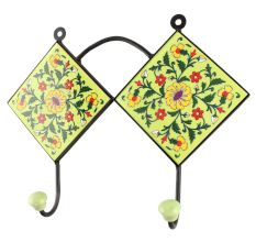 Ceramic Wheel Flower Tile Hook in Pea Green