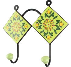 Pea Green Wheel Flower Ceramic Tile Hook
