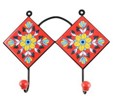 Red Floral Ceramic Tile Hook