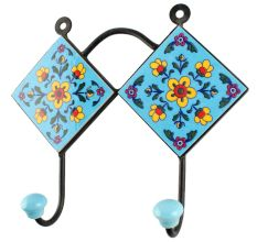 Turquoise Tiny Flower Ceramic Tile Hook