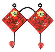 Red With Forest Green Leaf Flower Ceramic Tile Hook