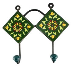 Ceramic Floral tile Hook in Forest Green