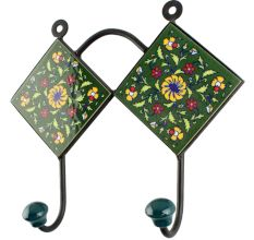 Ceramic Flower Tile Hook in Forest Green