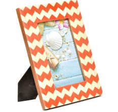 Orange White Chevron Geometric Design  Photo Frame