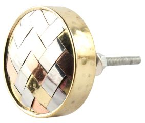 Silver Round Metal And Wood Cabinet Knobs Online