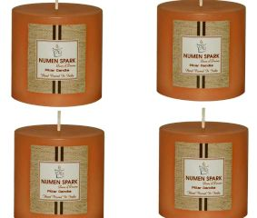 Set Of 4 Buttery Vanilla Solid Pillar  Candle