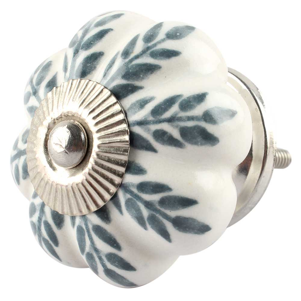 White Base Grey Leaf Ceramic Floral Melon Drawer Knob
