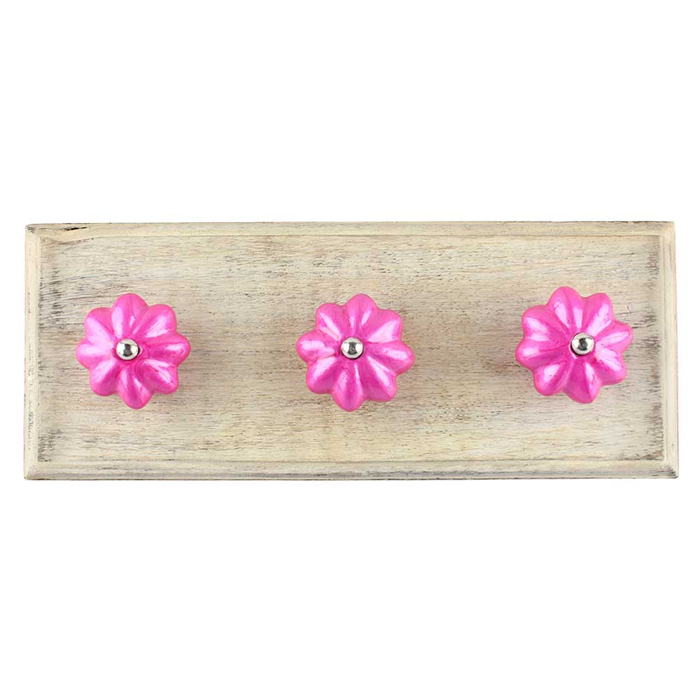 Solid Neon Pink Ceramic Melon Wooden Hook