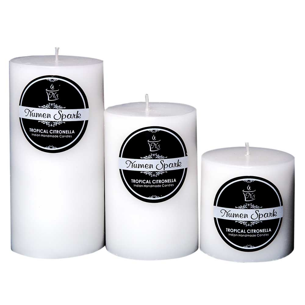 Set Of 3 Tropical Citronella Solid Pillar Candle