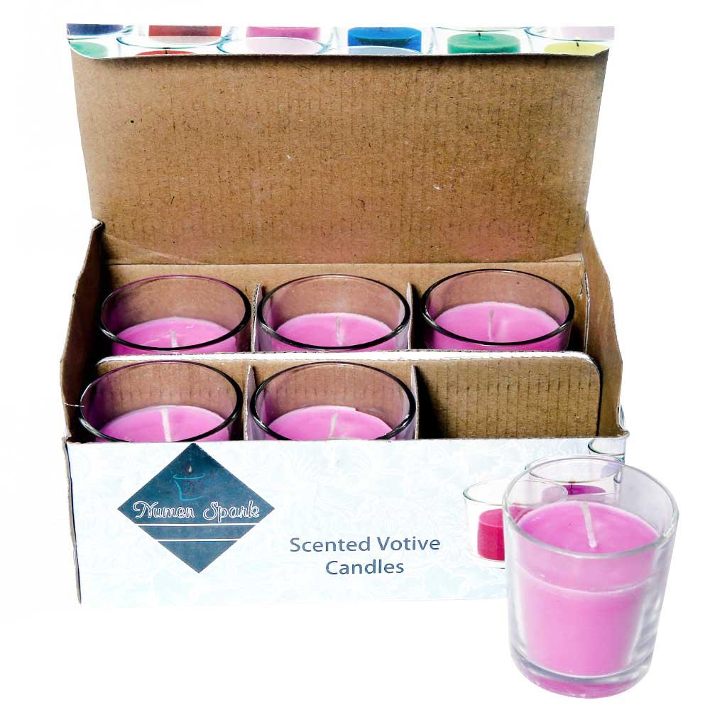 Set Of 6 Lavender Spa Votive Candle