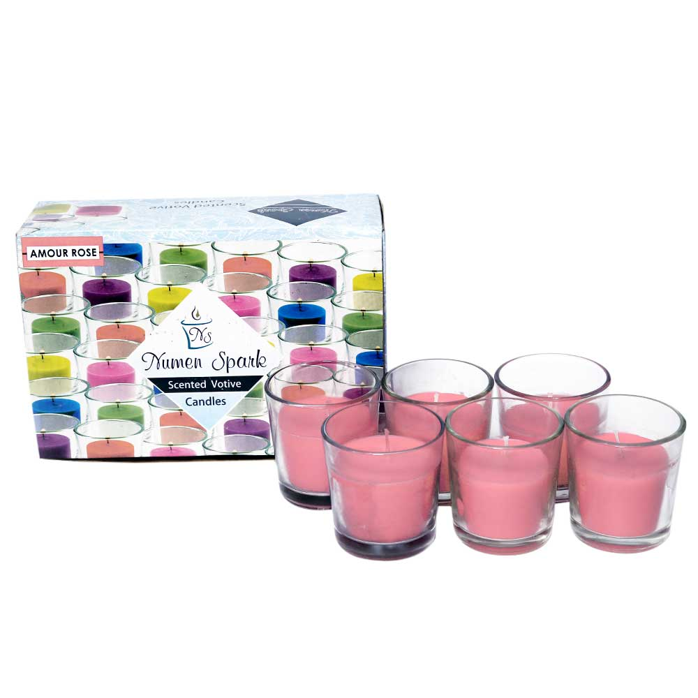 Set Of 6 Amour Rose Votive Candle