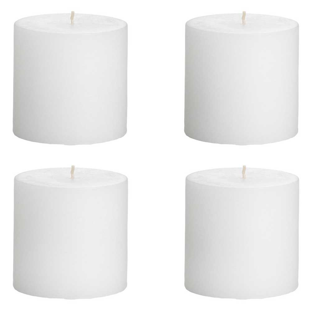 Set Of 4 White Outdoor Pillar  Candle