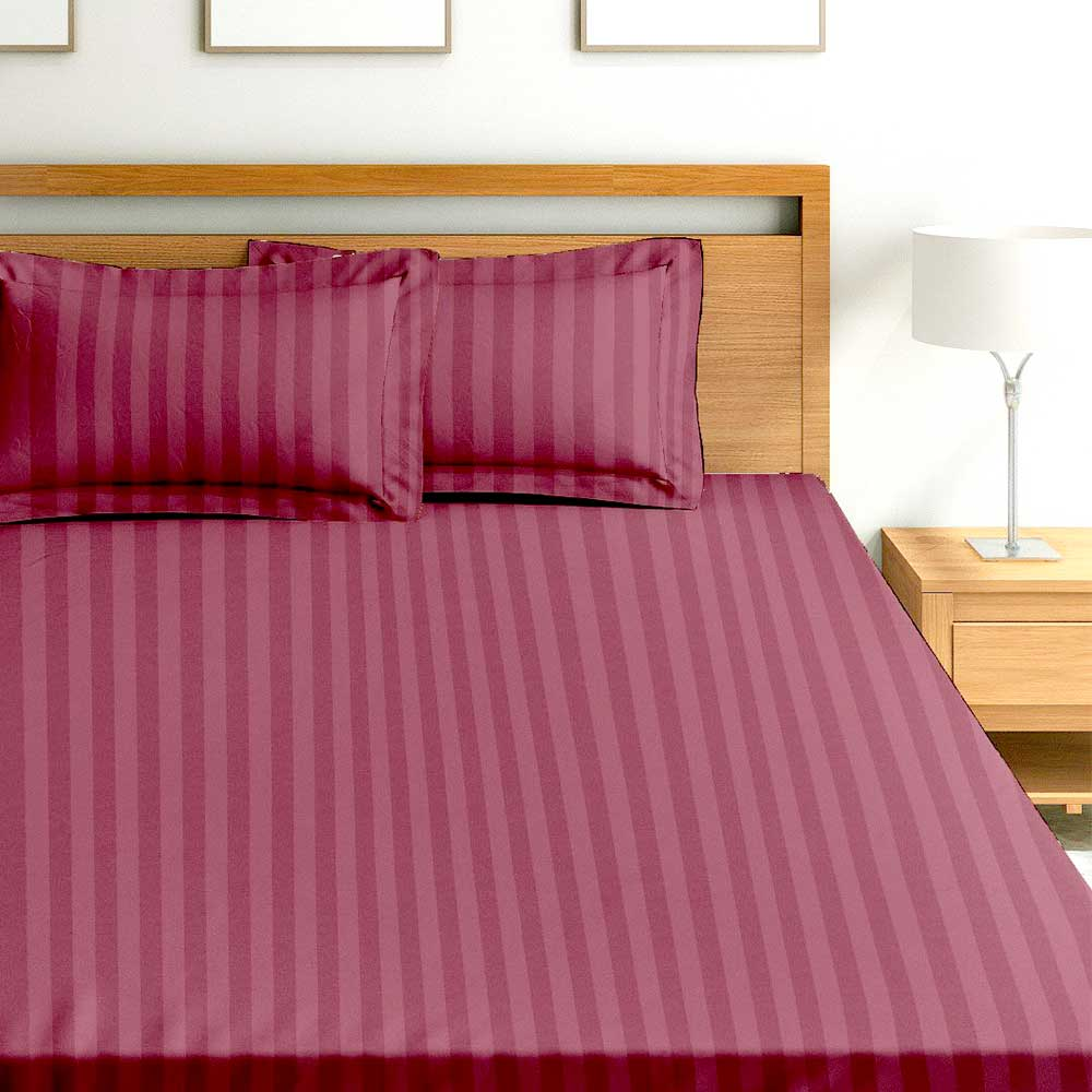 Chic Home Premium Collection 300 Thread Count 100% Cotton King Size Bed Sheet: Maroon