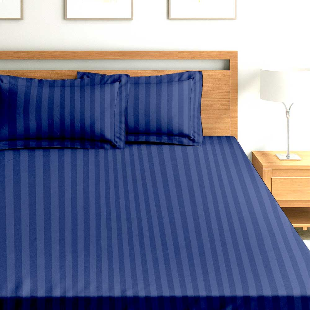Chic Home Premium Collection 300 Thread Count 100% Cotton King Size Bed Sheet: Navy Blue