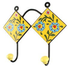 Yellow Ceramic Floral Tile Hook