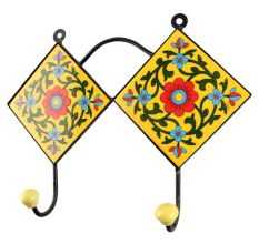 Yellow Ceramic Flower Tile Wall Hook