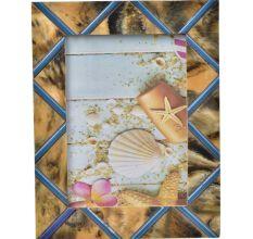 Rustic Bone And Wood and Blue Geometric Pattern Photo Frame