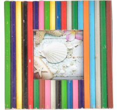 Old Colorful Bamboo Sticks Photo Frame