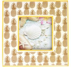Hand Carved Pineapple With Yellow Border Photo Frame