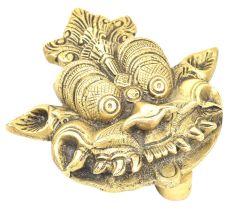 Golden Brass Yali Face Door On Brass Plate
