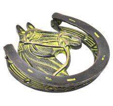 Brass Horse Shoe Door Knocker With Green patina